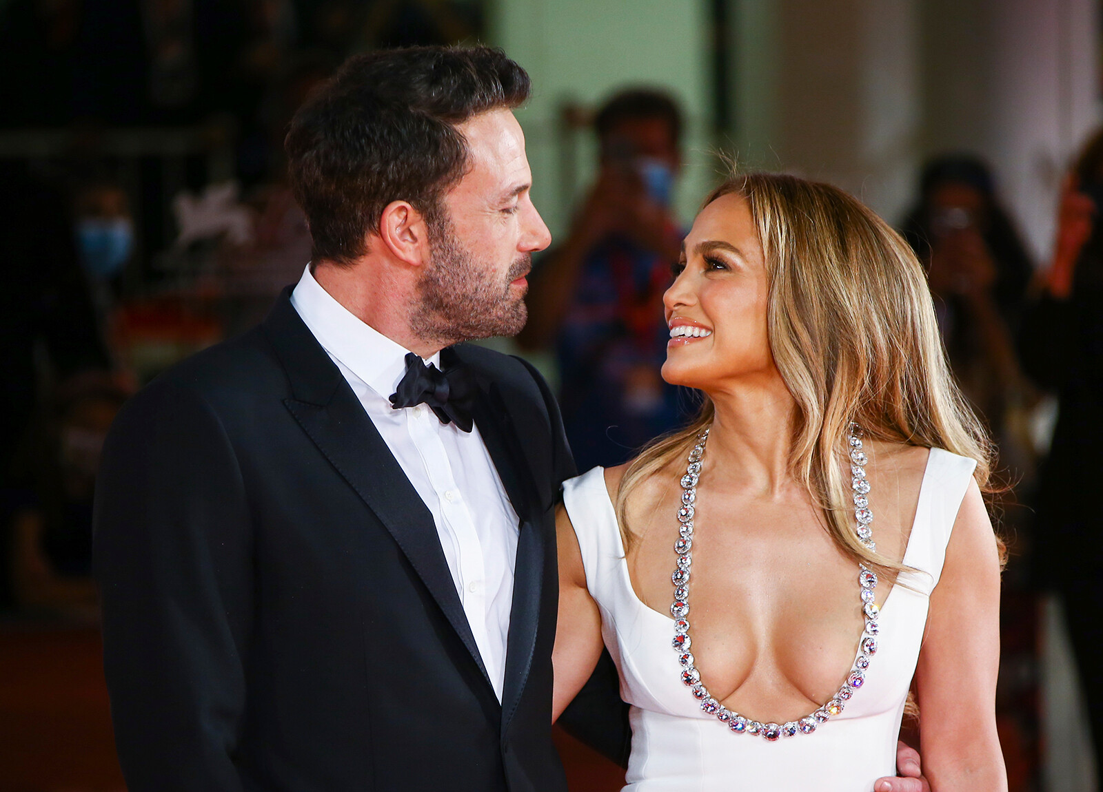 <i>Joel C. Ryan/Invision/AP</i><br/>Ben Affleck and Jennifer Lopez stand together at the Venice Film Festival in Venice