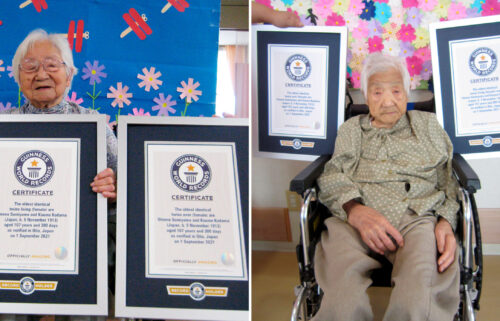 Identical twins Umeno Sumiyama (left) and Koume Kodama (right) are seen. The two Japanese sisters have been confirmed as the world's oldest living identical twins and the oldest ever identical twins at the age of 107.