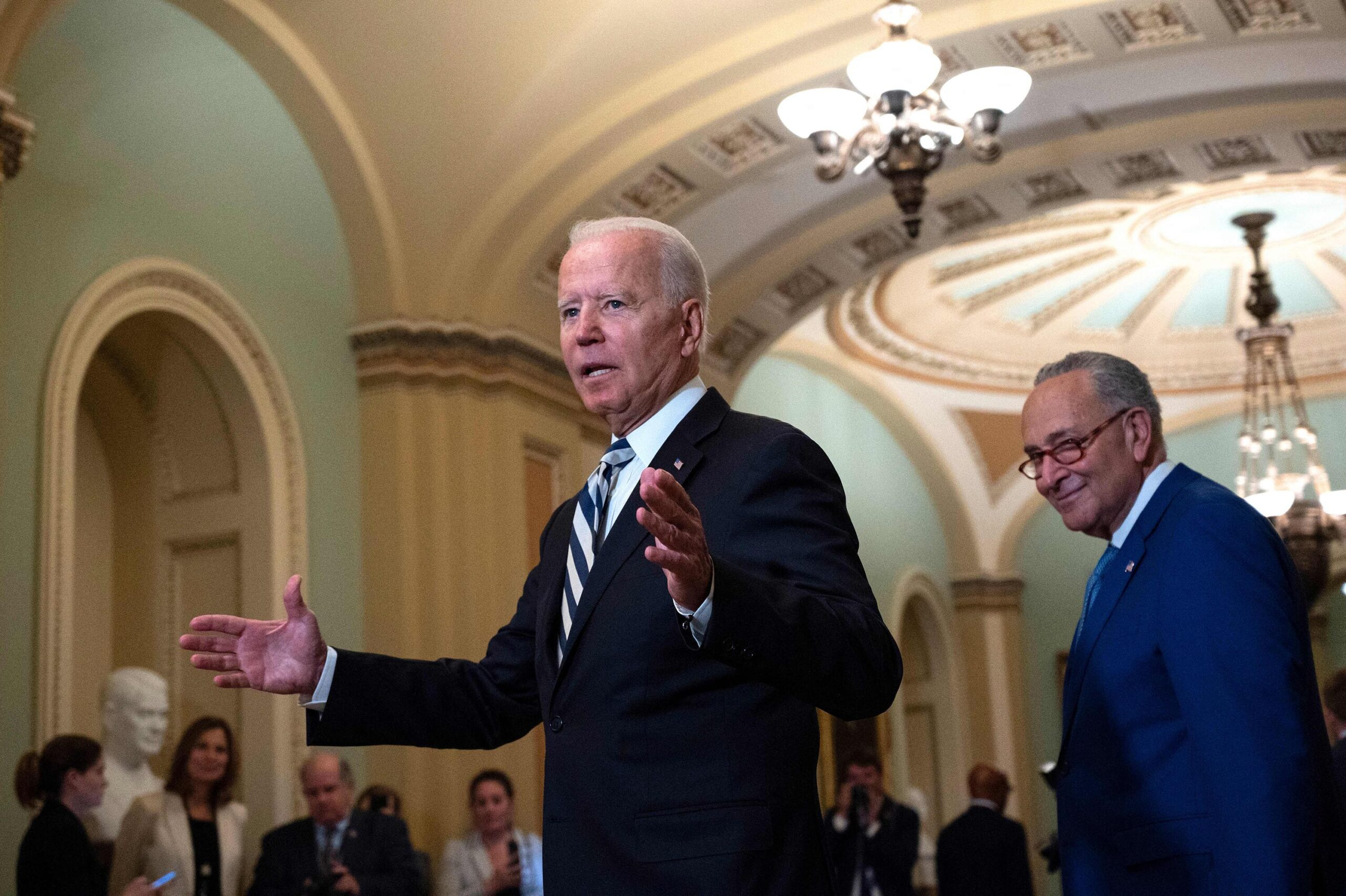 <i>Andre Caballero-Reynolds/AFP/Getty Images</i><br/>President Joe Biden may have started this week with a foreign policy-heavy schedule