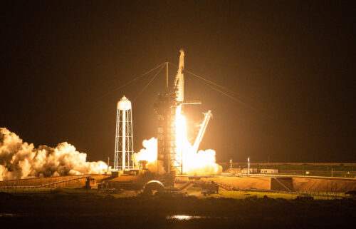 The SpaceX Falcon 9 rocket carrying the Inspiration4 crew launches from Pad 39A at NASA's Kennedy Space Center in Cape Canaveral