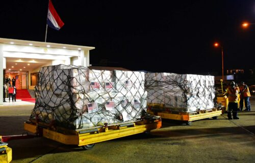 Boxes containing some of the one million doses of the Pfizer vaccine against Covid-19 donated by the United States