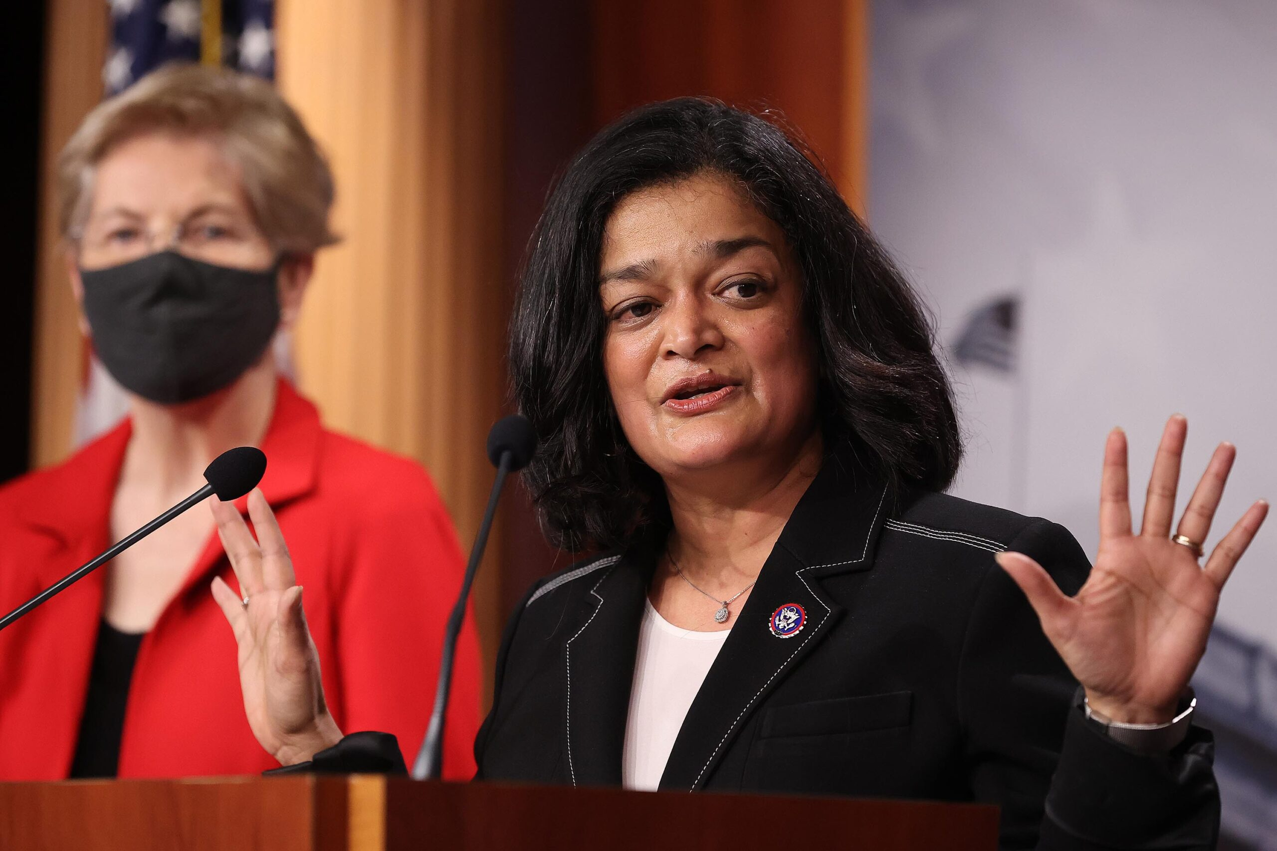 <i>Chip Somodevilla/Getty Images</i><br/>Rep. Pramila Jayapal (D-WA) (right) speaks during a news conference with Sen. Elizabeth Warren (D-MA) to announce legislation that would tax the net worth of America's wealthiest individuals at the U.S. Capitol on March 01