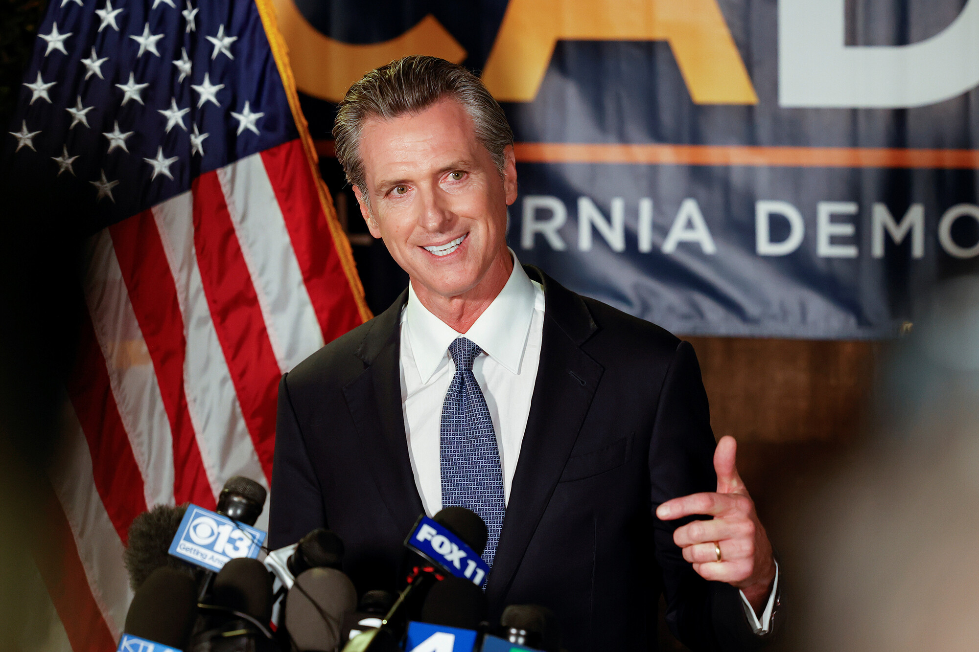 <i>Fred Greaves/Reuters</i><br/>California Governor Gavin Newsom speaks after the polls close on the recall election