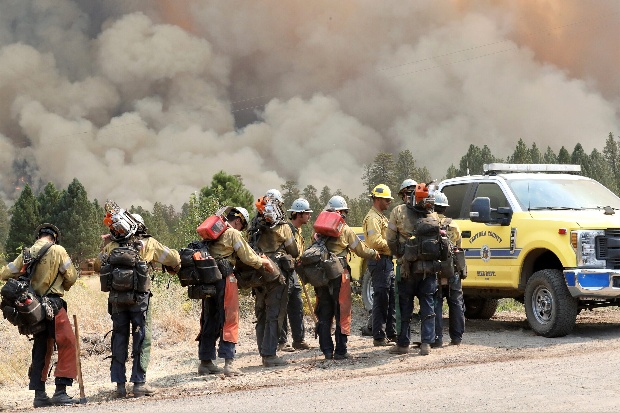 <i>Mike Chapman/Record Searchlight/USA Today Network</i><br/>California's Dixie Fire is nearing the devastating milestone of one million acres scorched. Firefighters here battle the raging Dixie Fire in Redding
