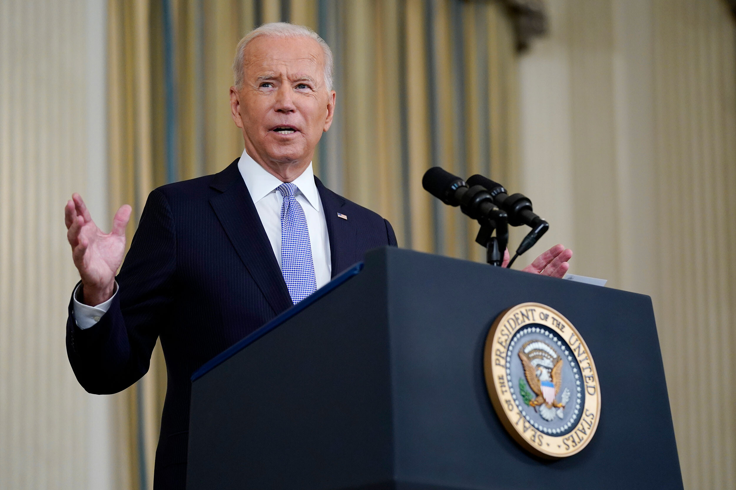 <i>Patrick Semansky/AP</i><br/>President Joe Biden speaks about the COVID-19 response and vaccinations in the State Dining Room of the White House