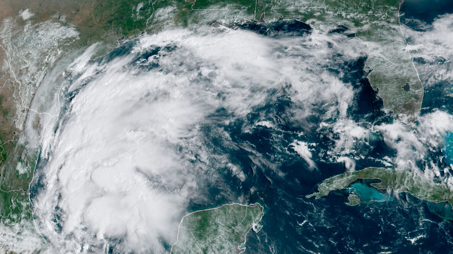 <i>NOAA/AP</i><br/>This satellite image provided by NOAA shows Tropical Storm Nicholas in the Gulf of Mexico on Sunday
