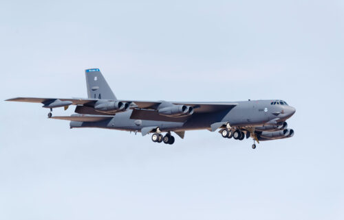 A file photo of a US Air Force B-52H Stratofortress on final approach to Nellis Air Force Base