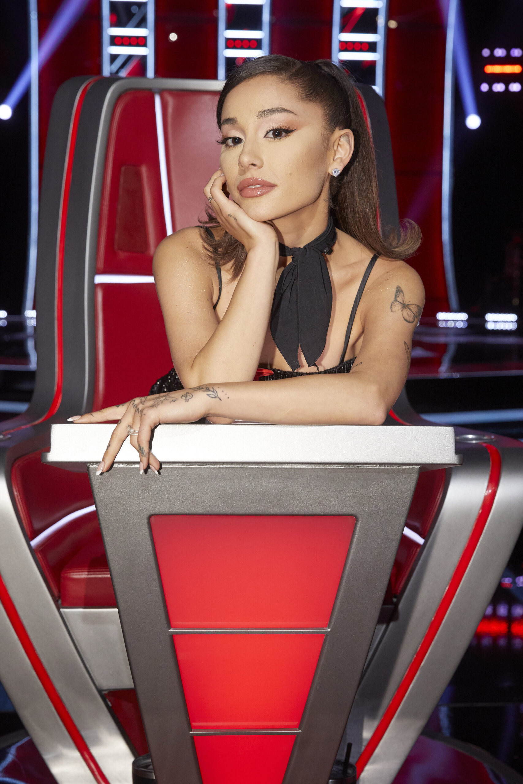 <i>NBC/NBCUniversal/NBCU Photo Bank via Getty Images</i><br/>Ariana Grande on 'The Voice.'