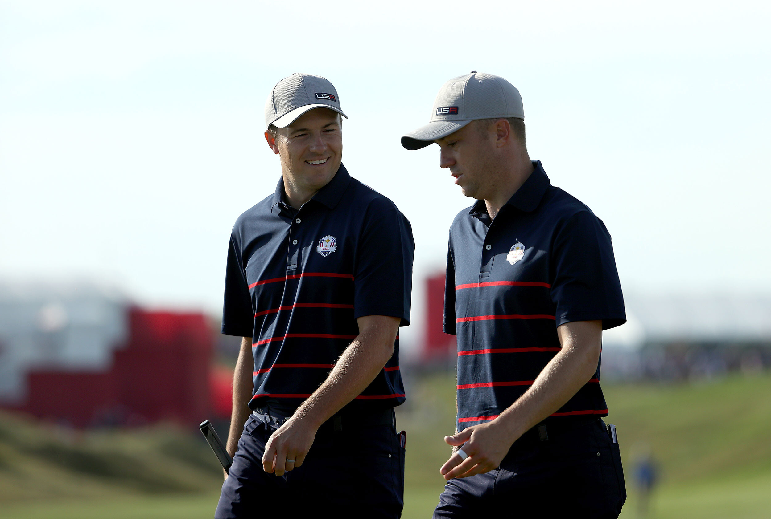 <i>Patrick Smith/Getty Images</i><br/>Jordan Spieth and Thomas walk during Friday Morning Foursome Matches of the 43rd Ryder Cup.