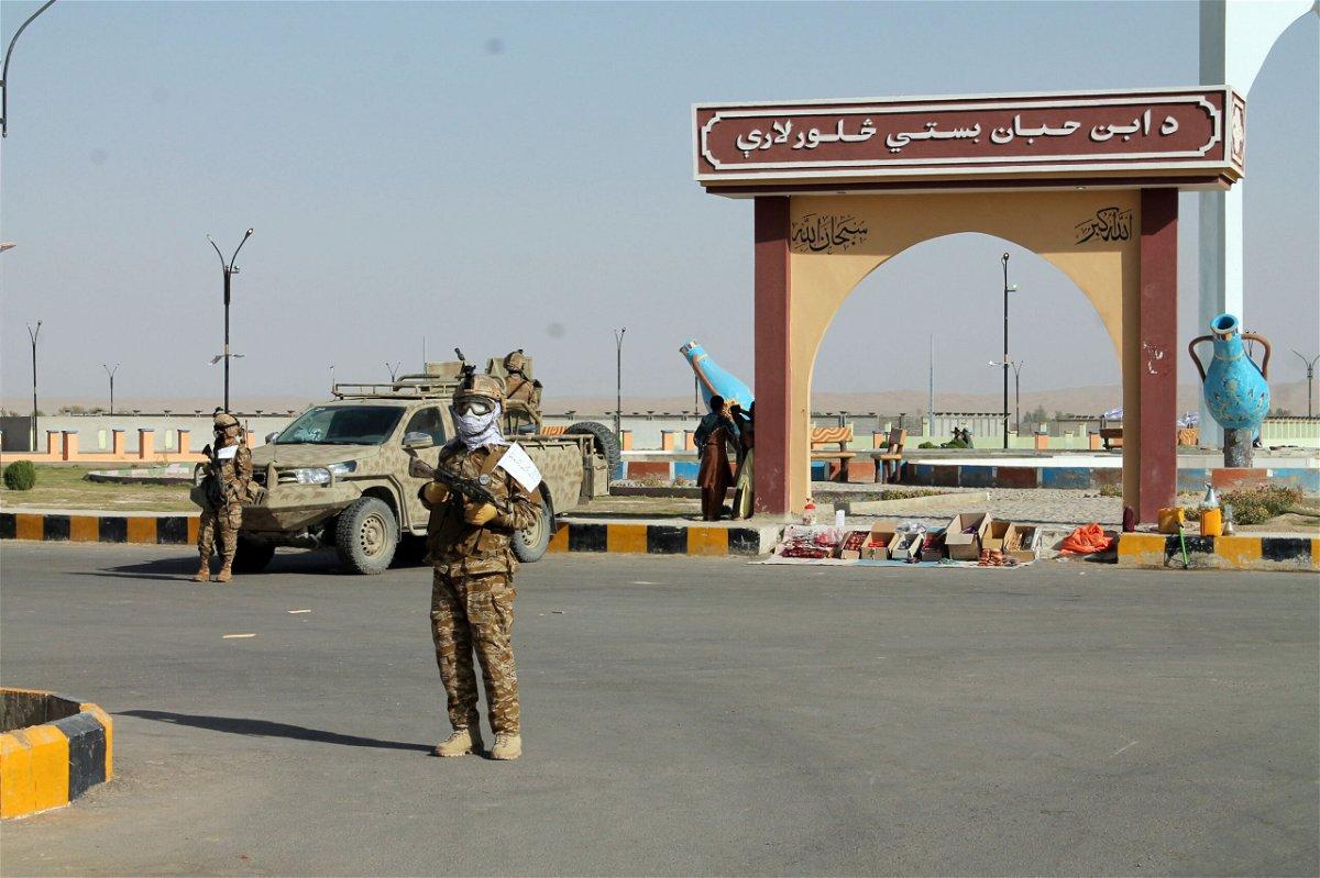 <i>Abdul Khaliq/AP</i><br/>Taliban commando fighters stand guard in Lashkar Gah