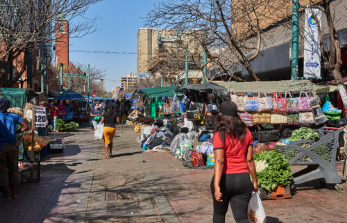 Shoppers in a market in the central business district of Pretoria