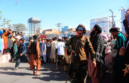 The Taliban in Afghanistan have put on public display the bodies of four men who were killed after they allegedly carried out a kidnapping in the western city of Herat.