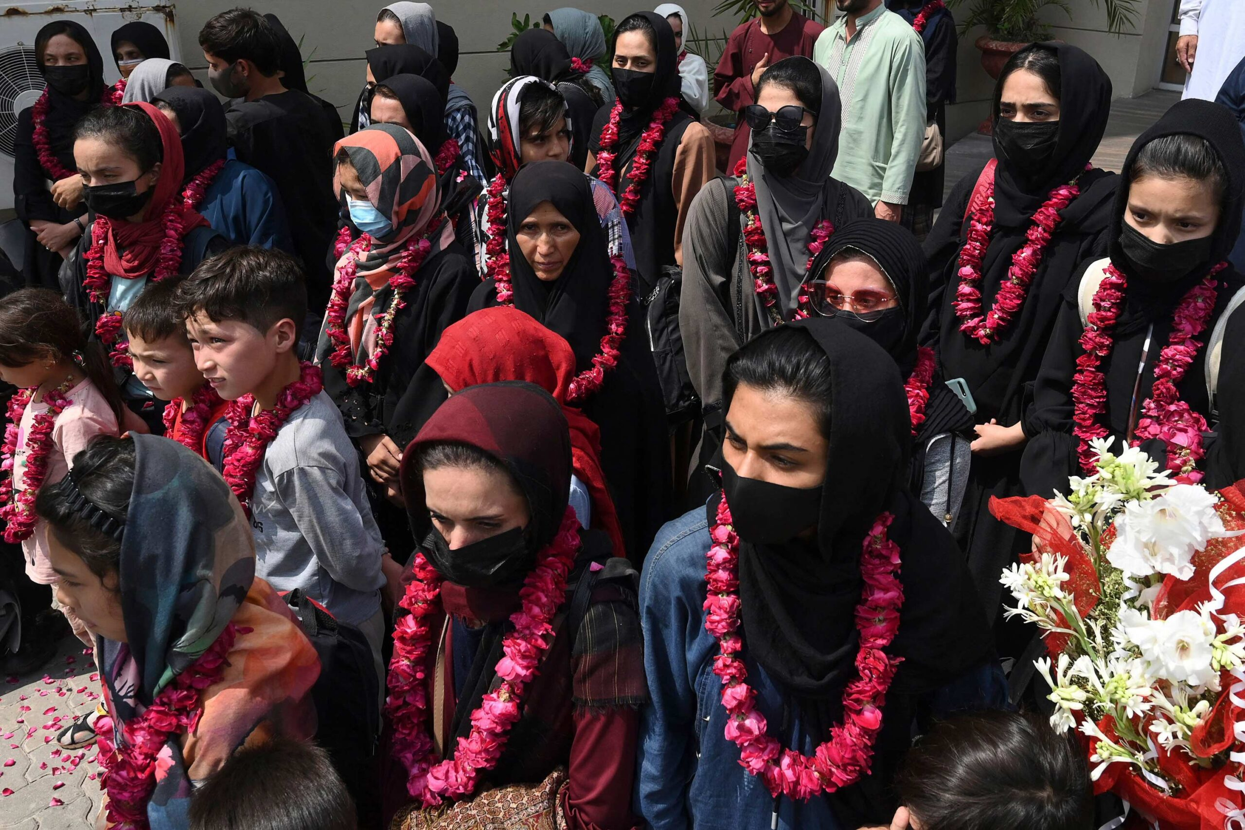 <i>ARIF ALI/AFP/Getty Images</i><br/>Members of Afghanistan's girls football team have arrived in Pakistan.