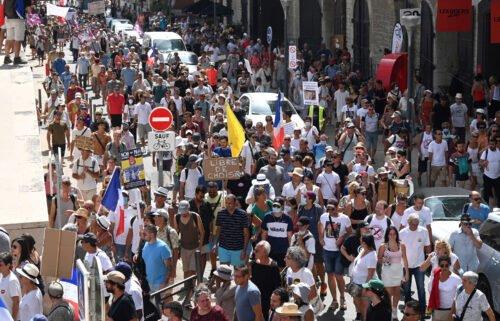 Demonstrators march in Marseille