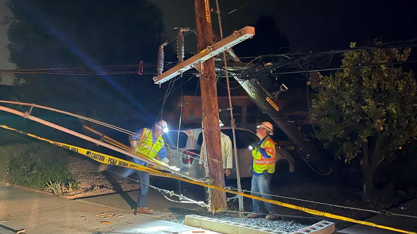 A power pole was sheared in half after it was hit by a car late Sunday night in SLO