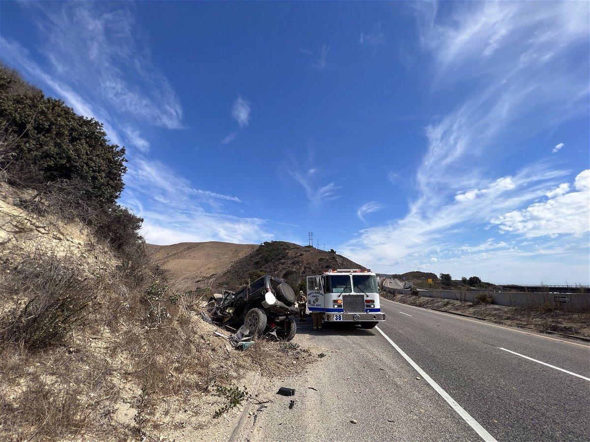 One person was killed in a single-vehicle crash near Gaviota Monday
