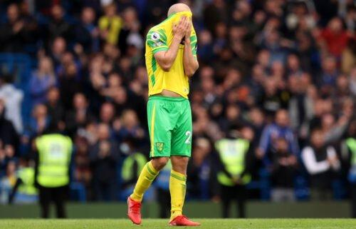 Norwich striker Teemu Pukki looks dejected following the defeat.