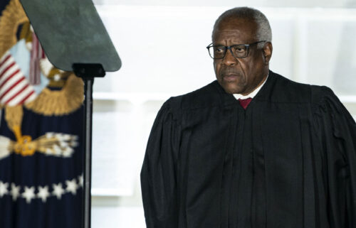 Justice Clarence Thomas at the White House on Monday