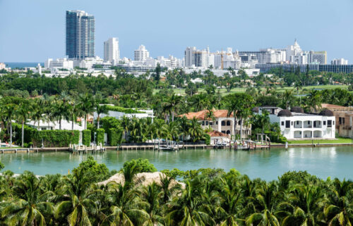 Miami Beach waterfront homes by Biscayne Bay surrounded by palms.