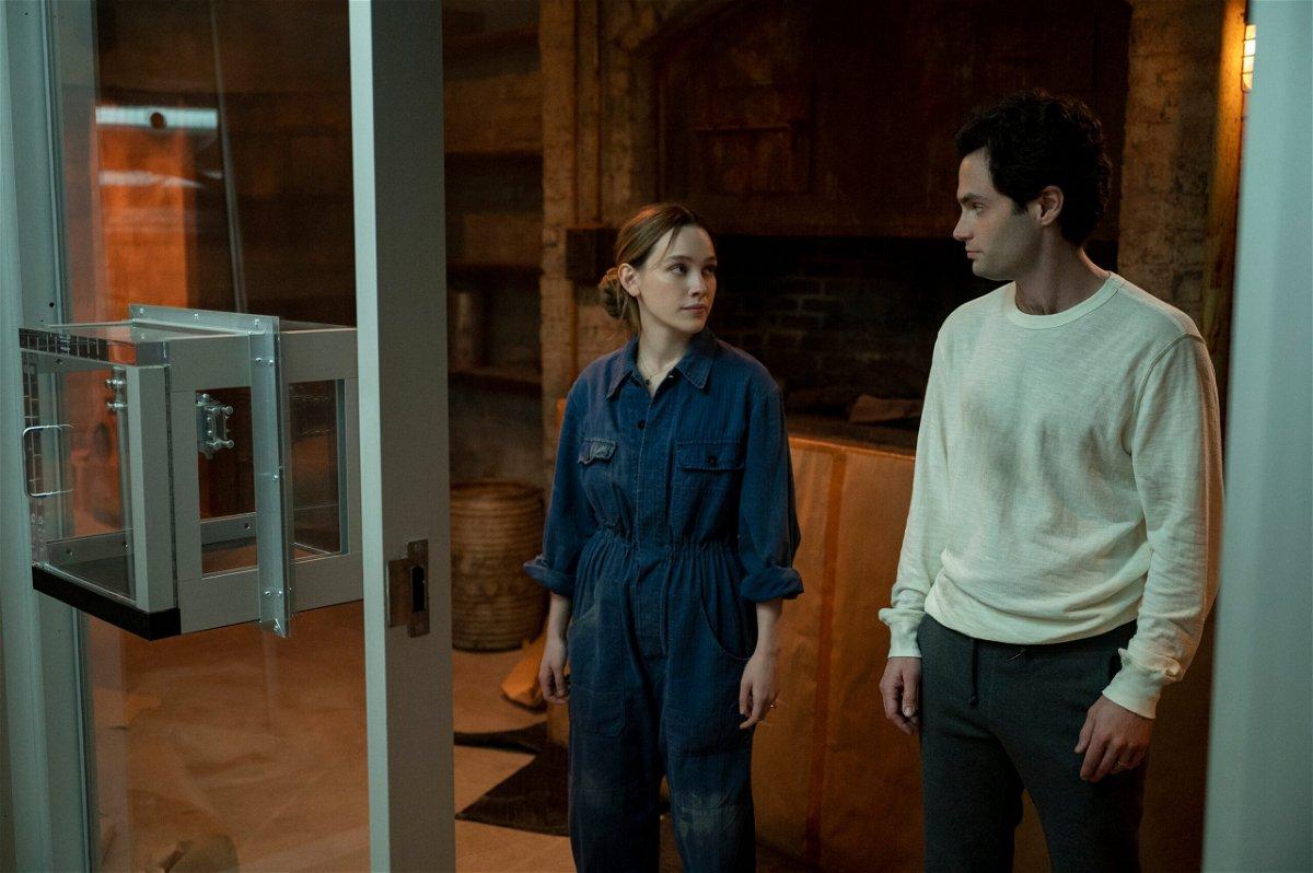 <i>John P. Fleenor/Netflix</i><br/>Victoria Pedretti and Penn Badgley in 'You's' third season on Netflix.