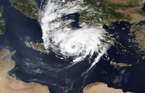 A medicane forms southeast of Italy as shown in this satellite image map from September 17