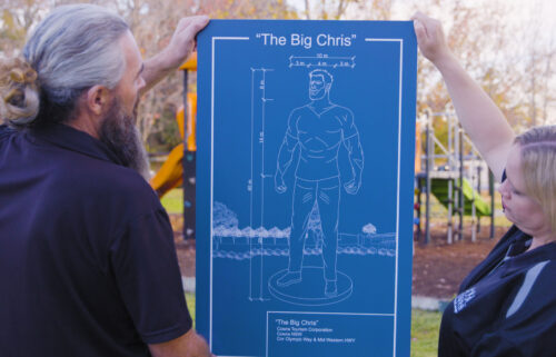 #GetChristoCowra is an ad campaign backed by the Cowra tourism council and fully embraced by residents. Blueprints are shown here for the hypothetical statue of Chris Hemsworth.