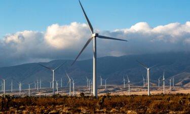 Wind turbines near the Tehachapi Mountains on in Rosamond