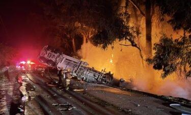 fire traffic truck flipped generic